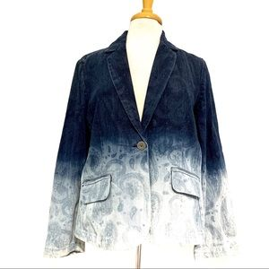 Chico's Platinum Denim Paisley Ombre Jacket